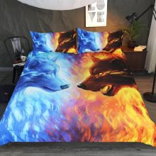 Fire and Ice Wolf Pattern Bedding Set