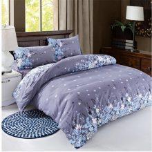 Grey Floral Cotton Blend Patterned Bedding Set