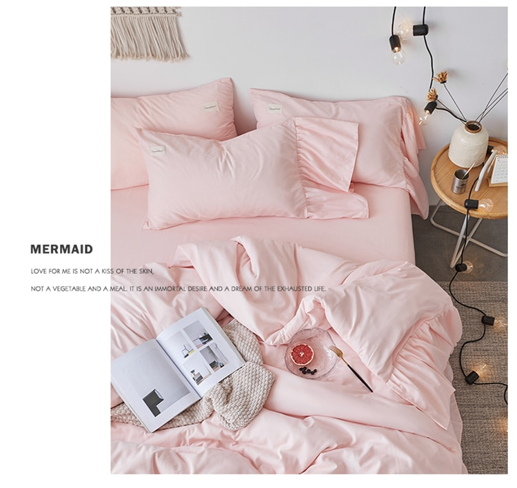 Korean style Pink White Beige princess Luxury Ruffles Polyester Girl Bedding Set Duvet Cover Bed sheet Fitted Sheet Pillowcases