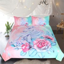 Floral Unicorn Bedding Set Cartoon for Kids Rose Duvet Cover Girly Twin Bed Set Pink Blue Bed Cover Floral Home Textiles