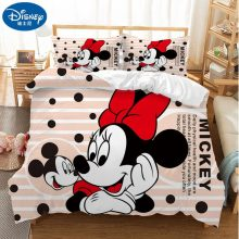 Cartoon Minnie Mickey Mouse 3D Bedding Set 100% Polyster Comforter Duvet Cover Pillowcases for Chidlren Christmas Present