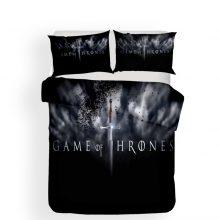 100% Microfiber Black/White Duvet Cover Set 3PCS+2 Pillowcase 3D Sharp Sword Game of Thrones Bedding Set with Black Dots Bed Set