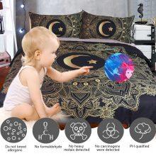 BeddingOutlet Golden Mandala Duvet Cover Black Flowers Star Moon Bedding Set Dark Blue Soft Quilt Cover Single 3 Pcs Bed Cover