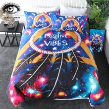 Positive Vibes Moon by Pixie Cold Art Bedding Set Galaxy Aries Duvet Cover Dreamcatcher Eclipse Bed Set Geometric Bedspreads