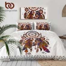 BeddingOutlet Hipster Watercolor Bedding Set Queen Size Dreamcatcher Feathers Duvet Cover Bohemian Printed Bed Cover 3 Pcs