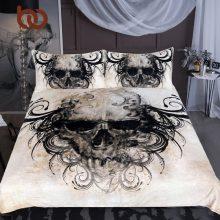 BeddingOutlet Gothic Skull Bedding Set Vintage Horrible Print Duvet Cover Set 3pcs for Adults Boys Bedspread Home Textiles Queen