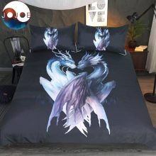 Yin and Yang Dragons Black by JoJoesArt Bedding Set 3D Printed Duvet Cover 3-Piece Bed Set Queen Animal Home Textiles For Adults