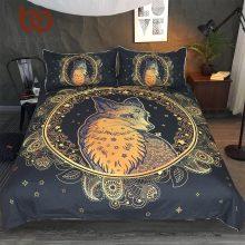 BeddingOutlet Golden Fox Bedding Set Animal Stars Duvet Cover Set Paisley Home Textiles 3-Piece Leaf Leaves Flower Bedspreads