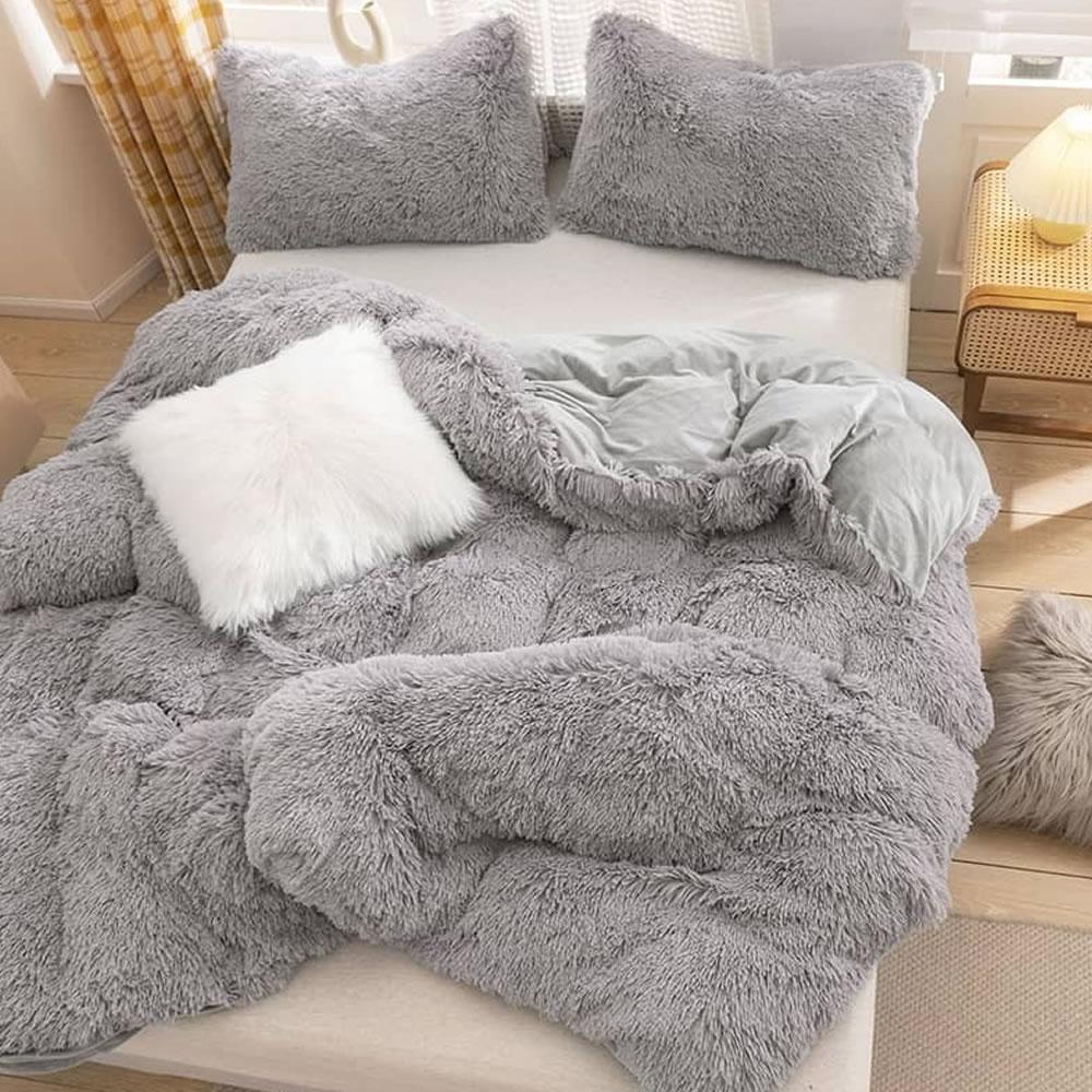 gray fleece bed sheet set