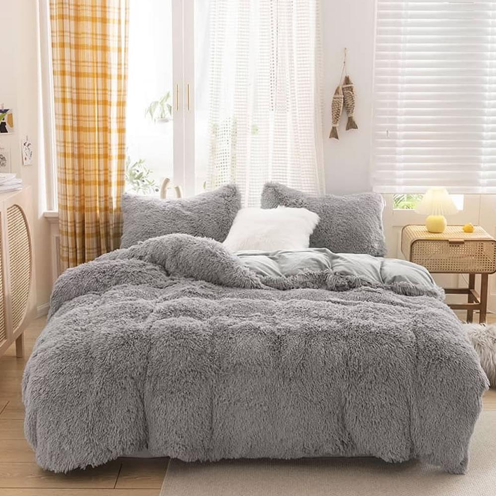 gray fleece bed sheets king