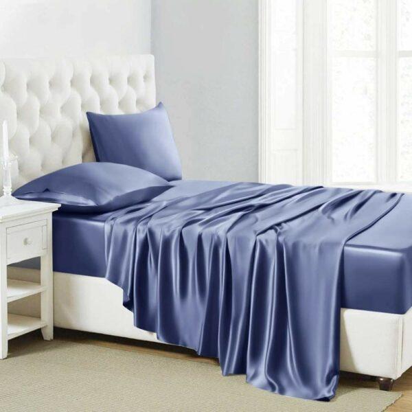 buy blue luxury bed sheet