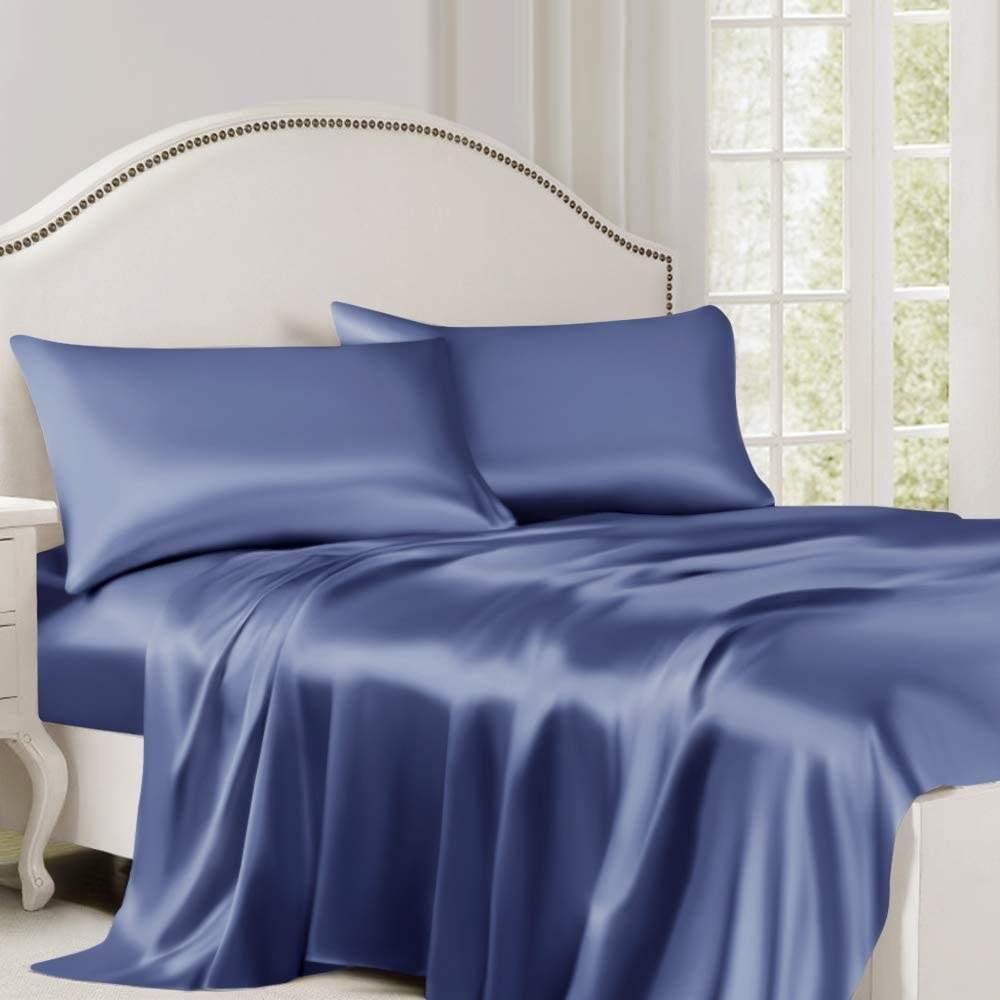 buy blue silk flat sheet