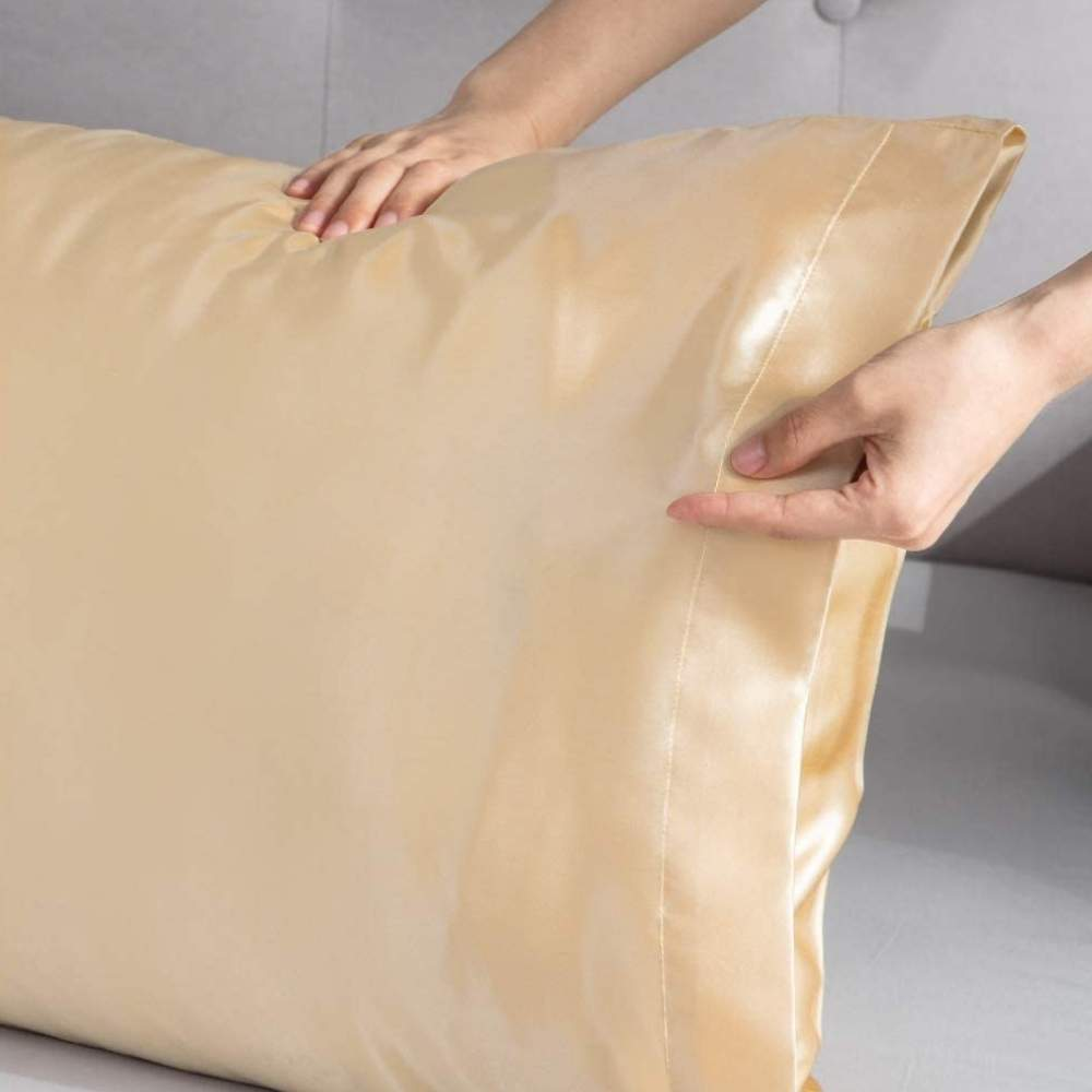 buy gold sateen pillow slip