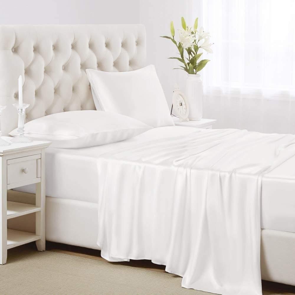 buy white silk flat sheet